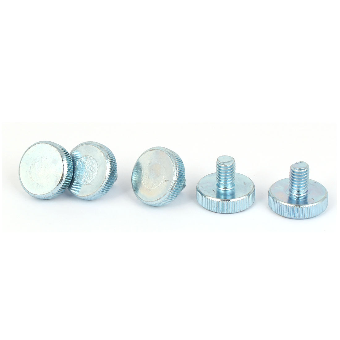 M8x12mm Thread Carbon Steel Knurled Round Head Thumb Screws Silver Blue 5pcs