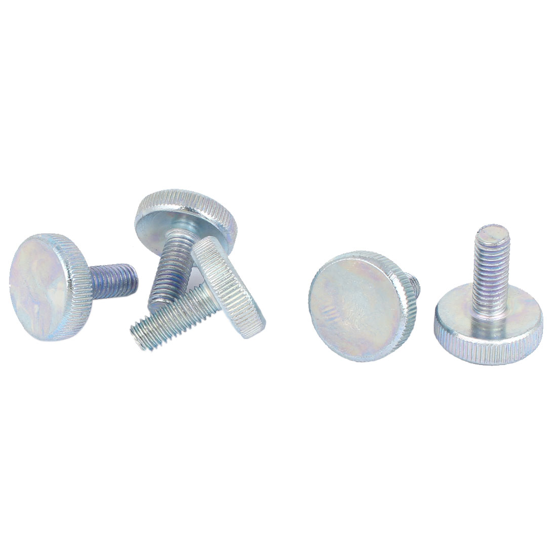 Carbon Steel Round Knurled Head Thumb Screw Silver Blue M8x20mm 5pcs
