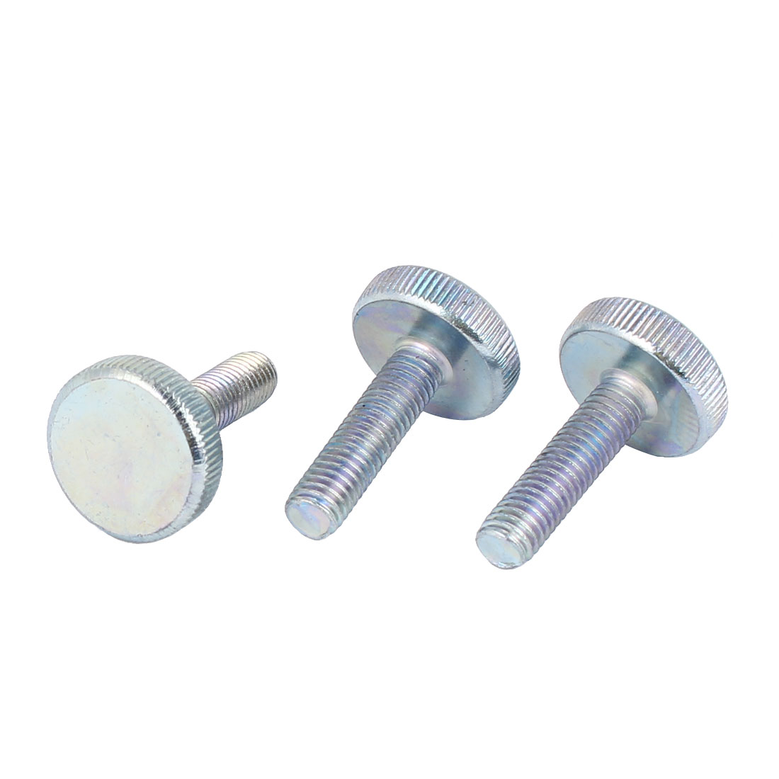 M8x30mm Thread Carbon Steel Knurled Round Head Thumb Screws Silver Blue 3pcs