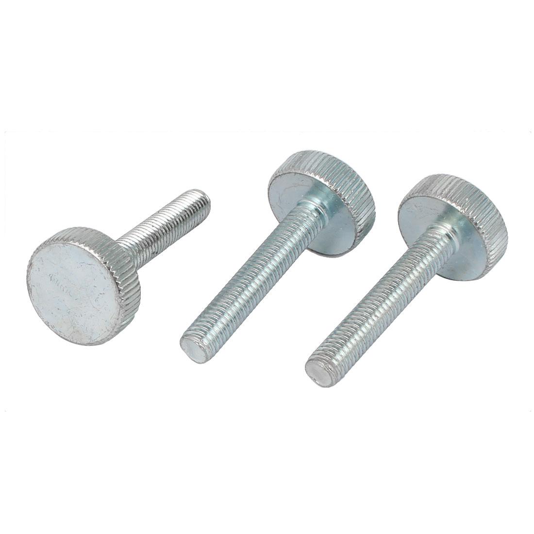 M8x45mm Thread Carbon Steel Knurled Round Head Thumb Screws Silver Blue 3pcs