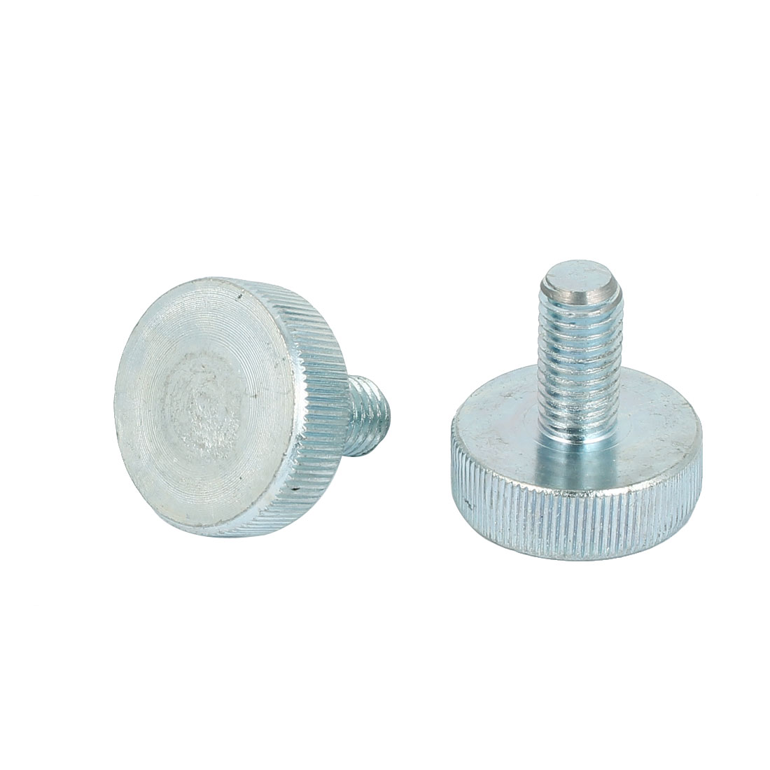 M10x20mm Thread Carbon Steel Knurled Round Head Thumb Screws Silver Blue 2pcs