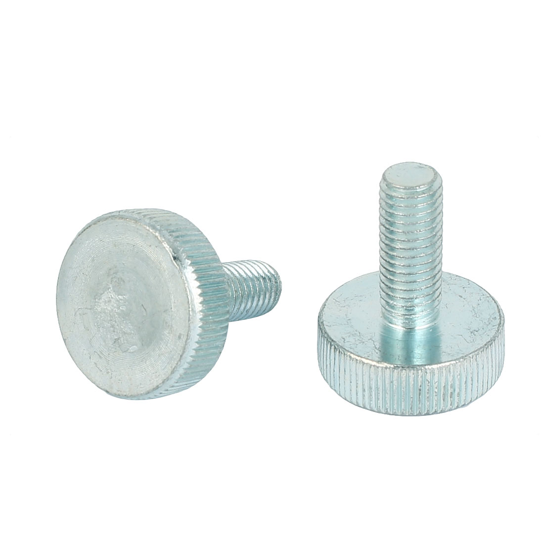 M10x25mm Thread Carbon Steel Knurled Round Head Thumb Screws Silver Blue 2pcs