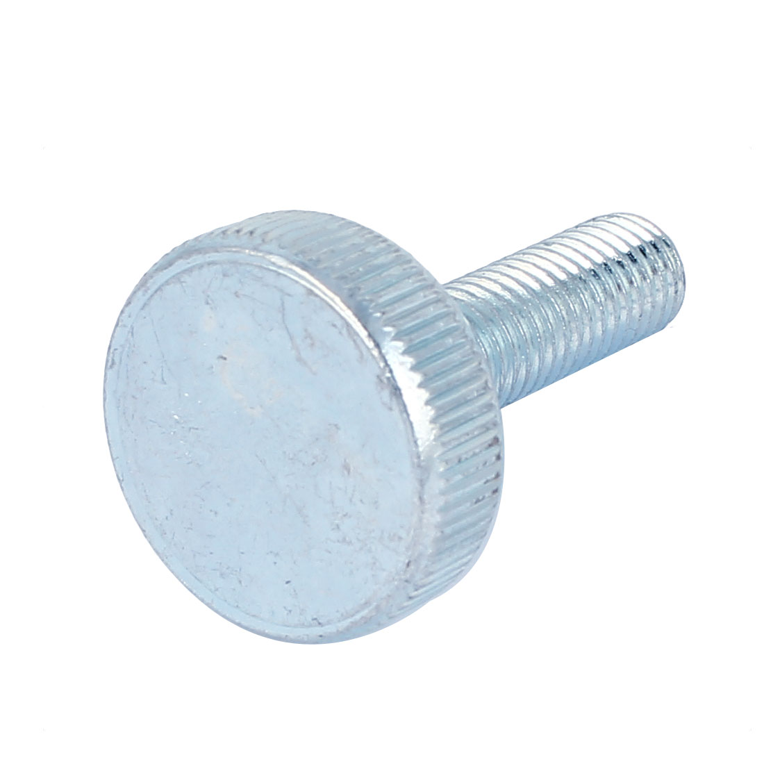 M10x35mm Thread Carbon Steel Knurled Round Head Thumb Screw Silver Blue