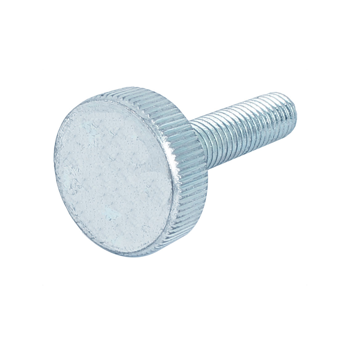 M10x40mm Thread Carbon Steel Knurled Round Head Thumb Screw Silver Blue
