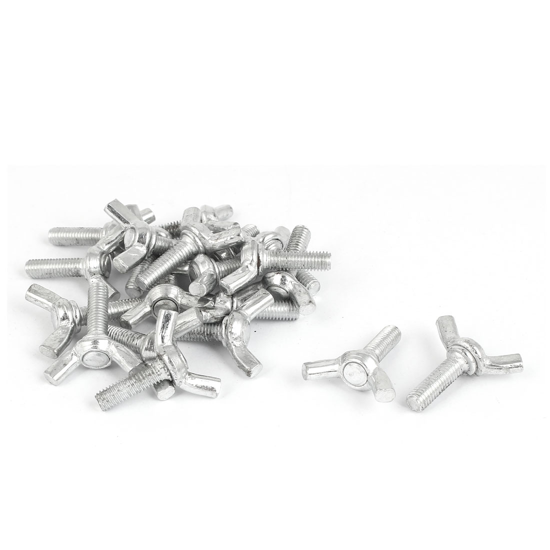 M5x16mm Thread Carbon Steel Wing Bolt Butterfly Screws Silver Tone 20pcs