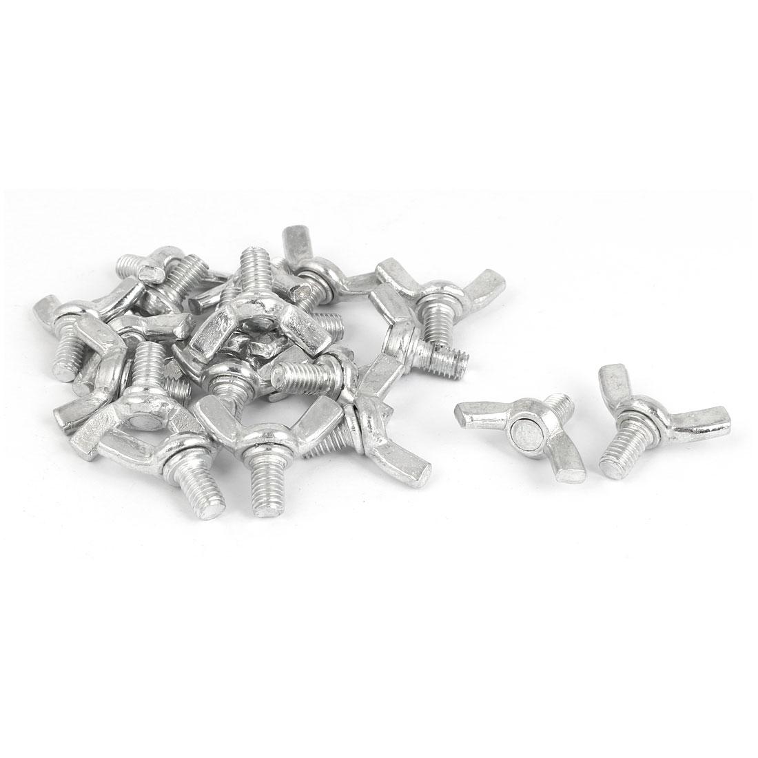M6x10mm Thread Carbon Steel Wing Bolt Butterfly Screws Silver Tone 20pcs