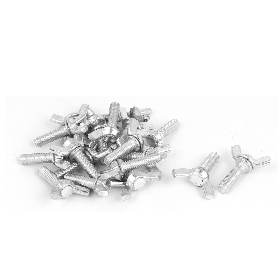 M6x20mm Thread Carbon Steel Wing Bolt Butterfly Screws Silver Tone 20pcs
