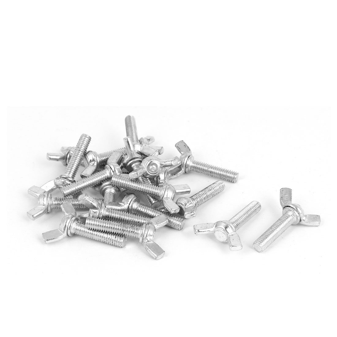 M6x25mm Thread Carbon Steel Wing Bolt Butterfly Screws Silver Tone 20pcs