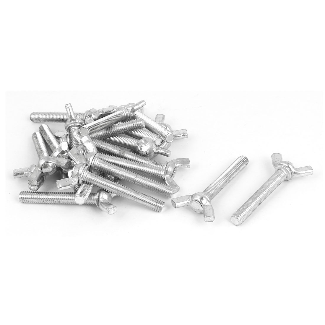 M6x40mm Thread Carbon Steel Wing Bolt Butterfly Screws Silver Tone 20pcs