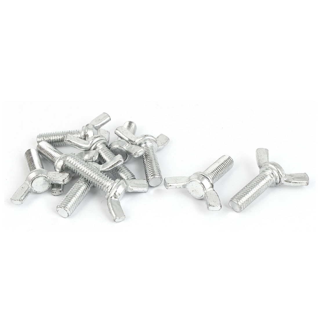 10pcs Metric M8x25mm 1.25mm Pitch Carbon Steel Wing Bolt Butterfly Screw