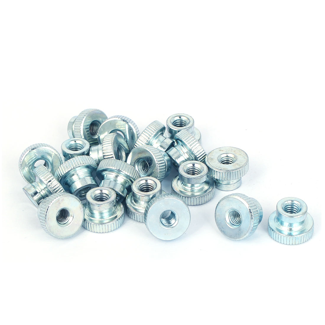 M4 Thread 8mm High Carbon Steel Round Knurled Head Thumb Nuts Silver Blue 20pcs