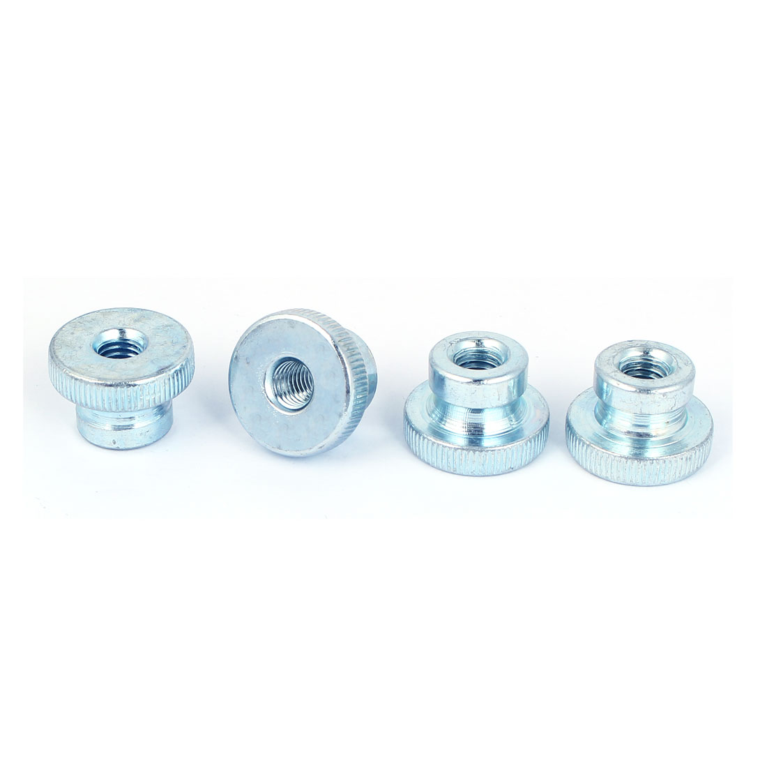 M8 Thread 16mm High Carbon Steel Round Knurled Head Thumb Nuts Silver Blue 4pcs