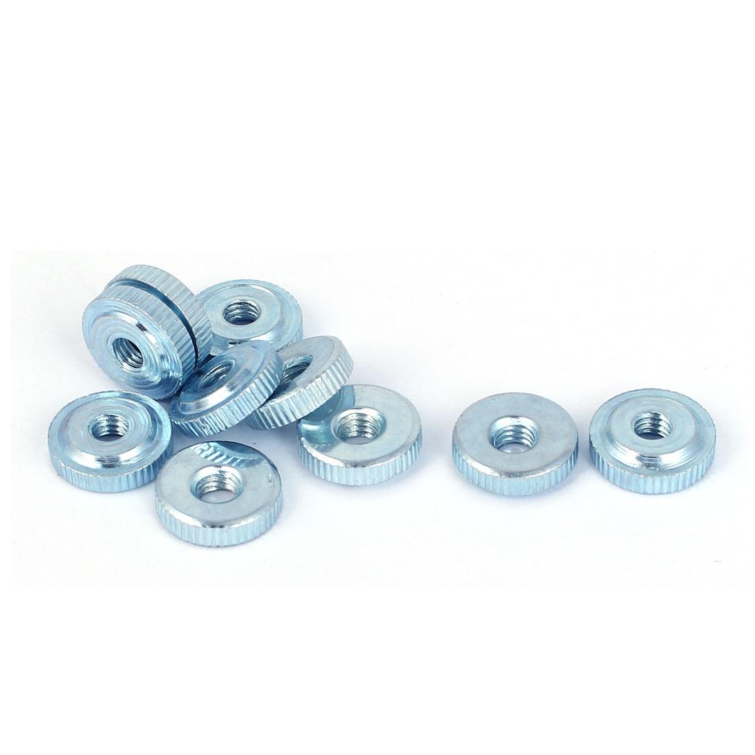 M4 Thread Carbon Steel Thin Type Knurled Flat Thumb Nuts Fastener 10pcs