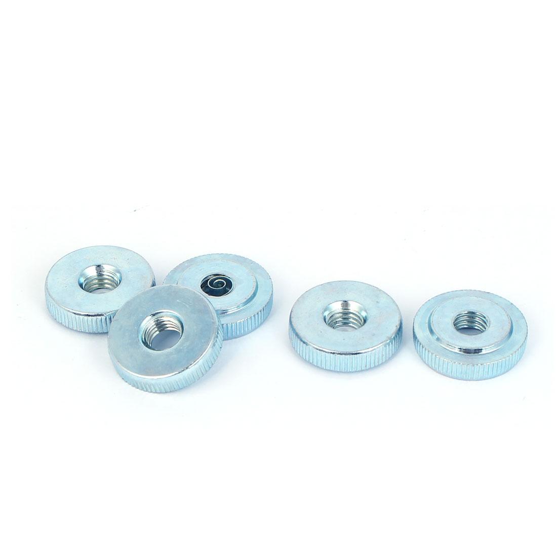 M8 Thread Carbon Steel Thin Type Knurled Flat Thumb Nuts Fastener 5pcs