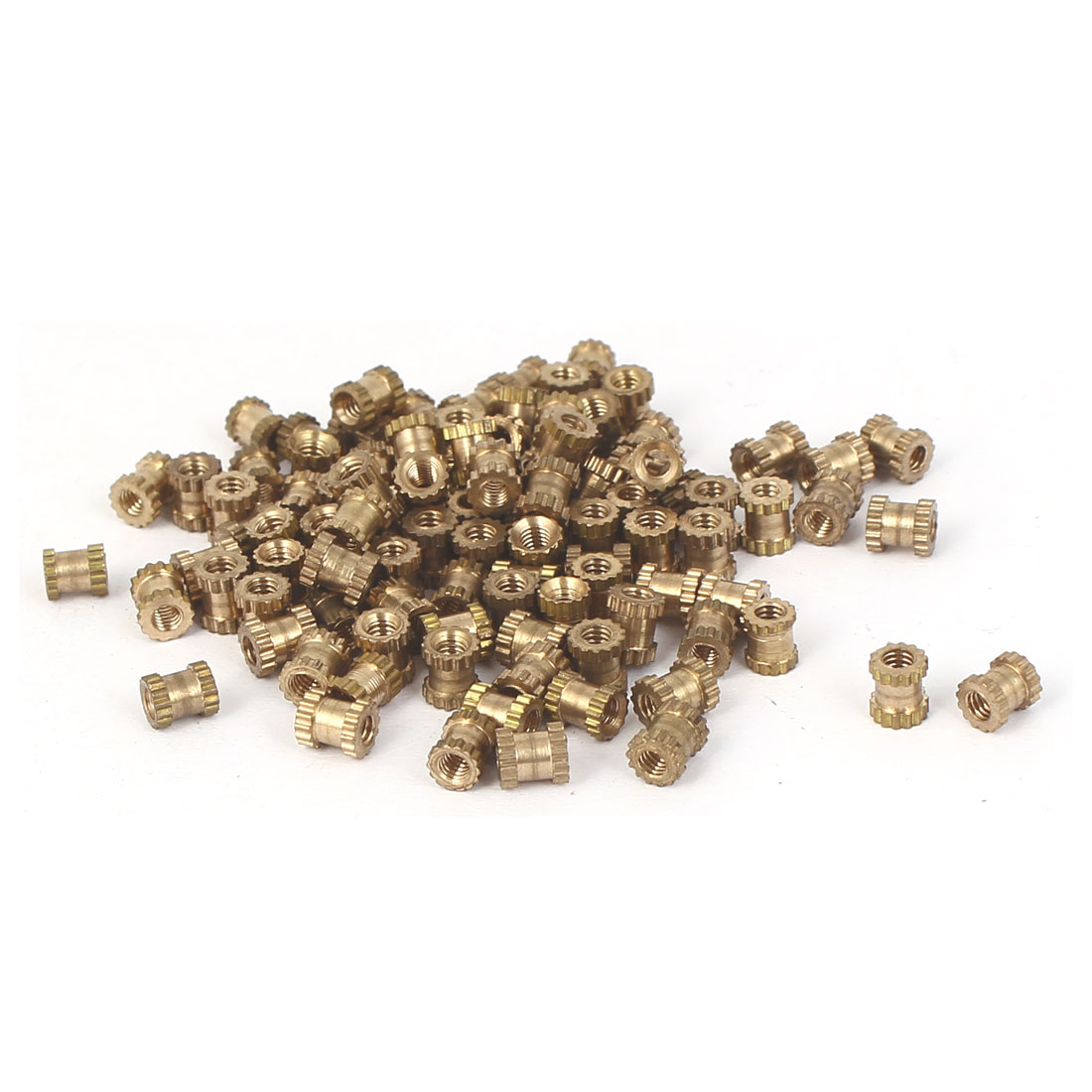 M2x4mm 3mm OD Brass Embedded Knurled Insert Thumb Nuts 100pcs
