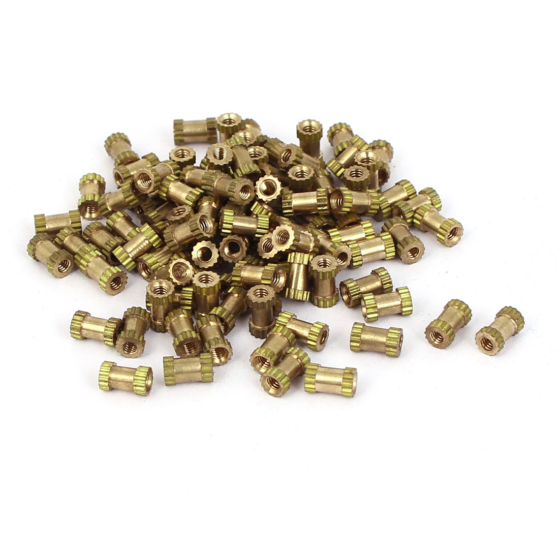 M2x6mm 4mm OD Brass Embedded Knurled Insert Thumb Nuts 100pcs