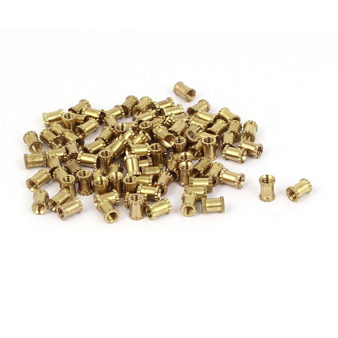 M2.5x5mm 4mm OD Brass Embedded Knurled Insert Thumb Nuts 100pcs