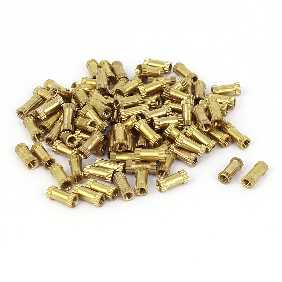 M2.5x8mm 3.5mm OD Brass Embedded Knurled Insert Thumb Nuts 100pcs