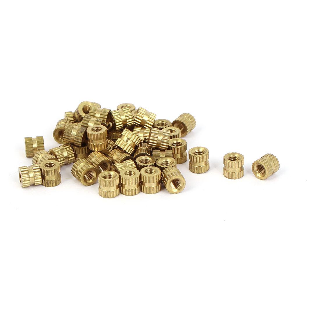 M3x5mm 5mm OD Brass Embedded Knurled Insert Thumb Nuts 50pcs