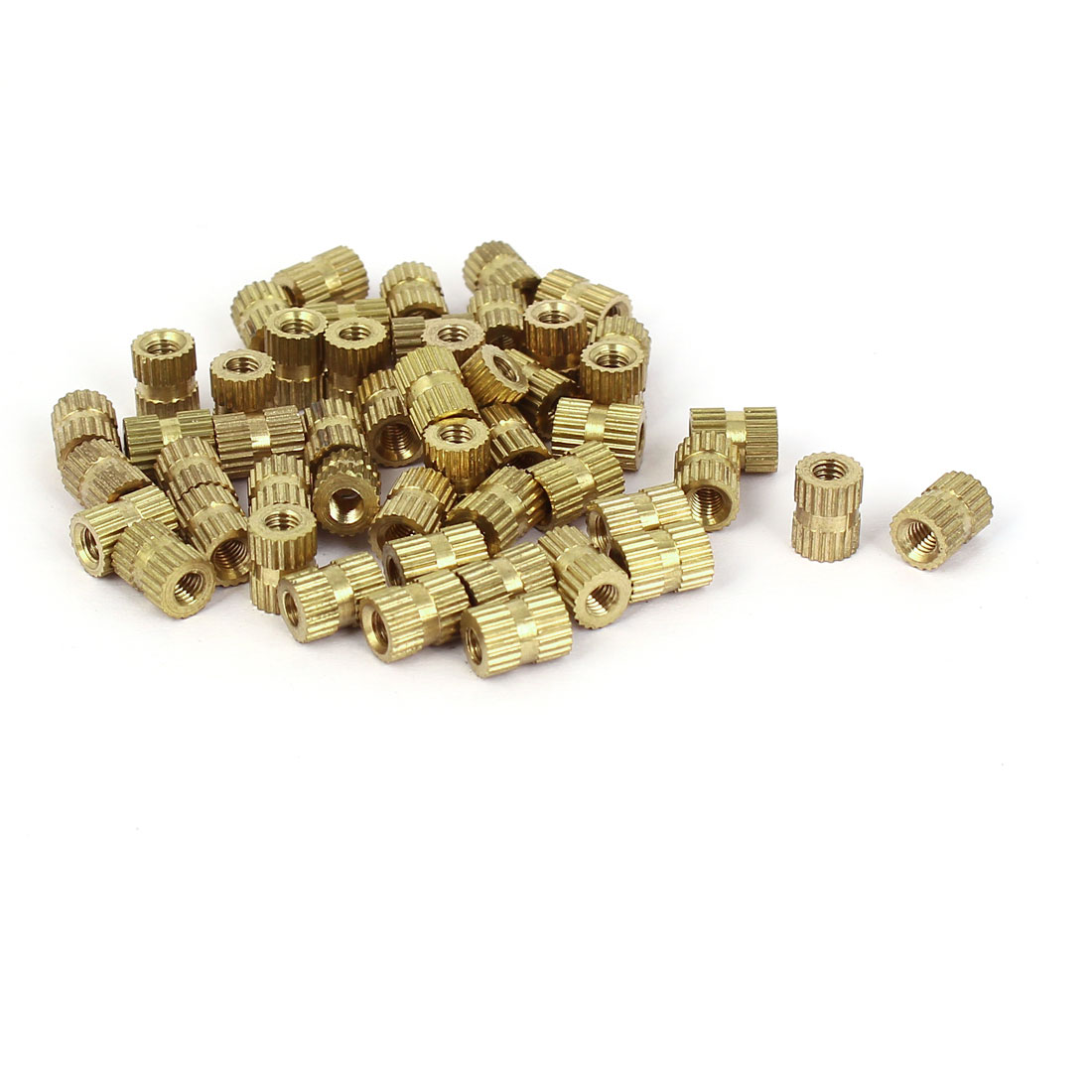 Solid Knurl Thread Insert Embedded Nut Fittings Brass Tone M3x7mmx5mm 50pcs