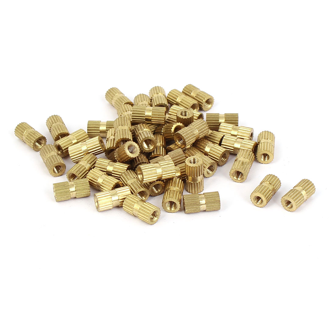 M3x10mm 5mm OD Brass Embedded Knurled Insert Thumb Nuts 50pcs