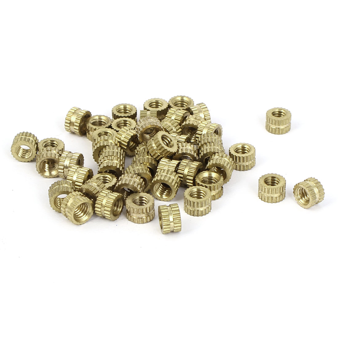 M4x4mm 6mm OD Brass Embedded Knurled Insert Thumb Nuts 50pcs