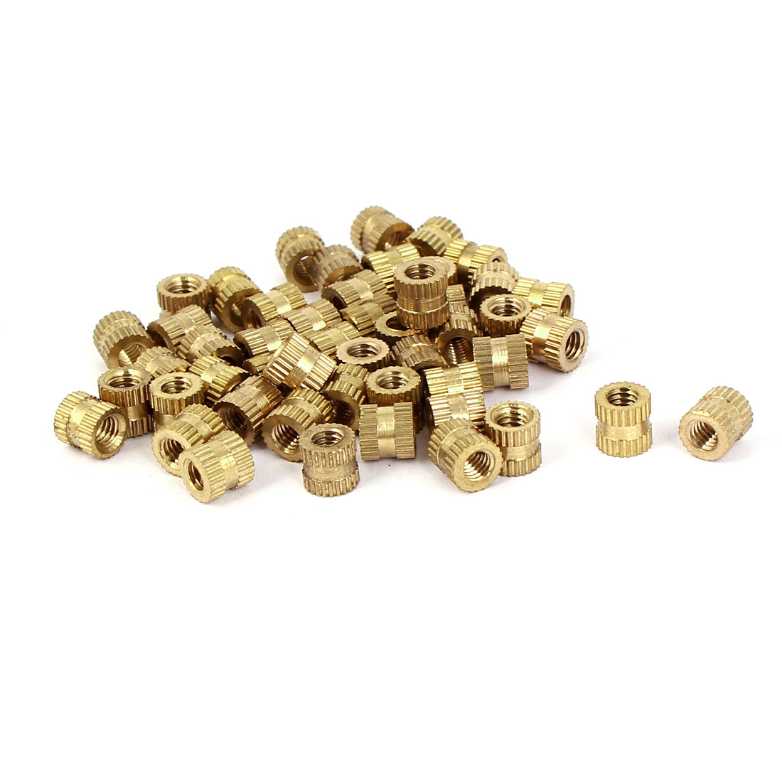 M4x6mm 6mm OD Brass Embedded Knurled Insert Thumb Nuts 50pcs