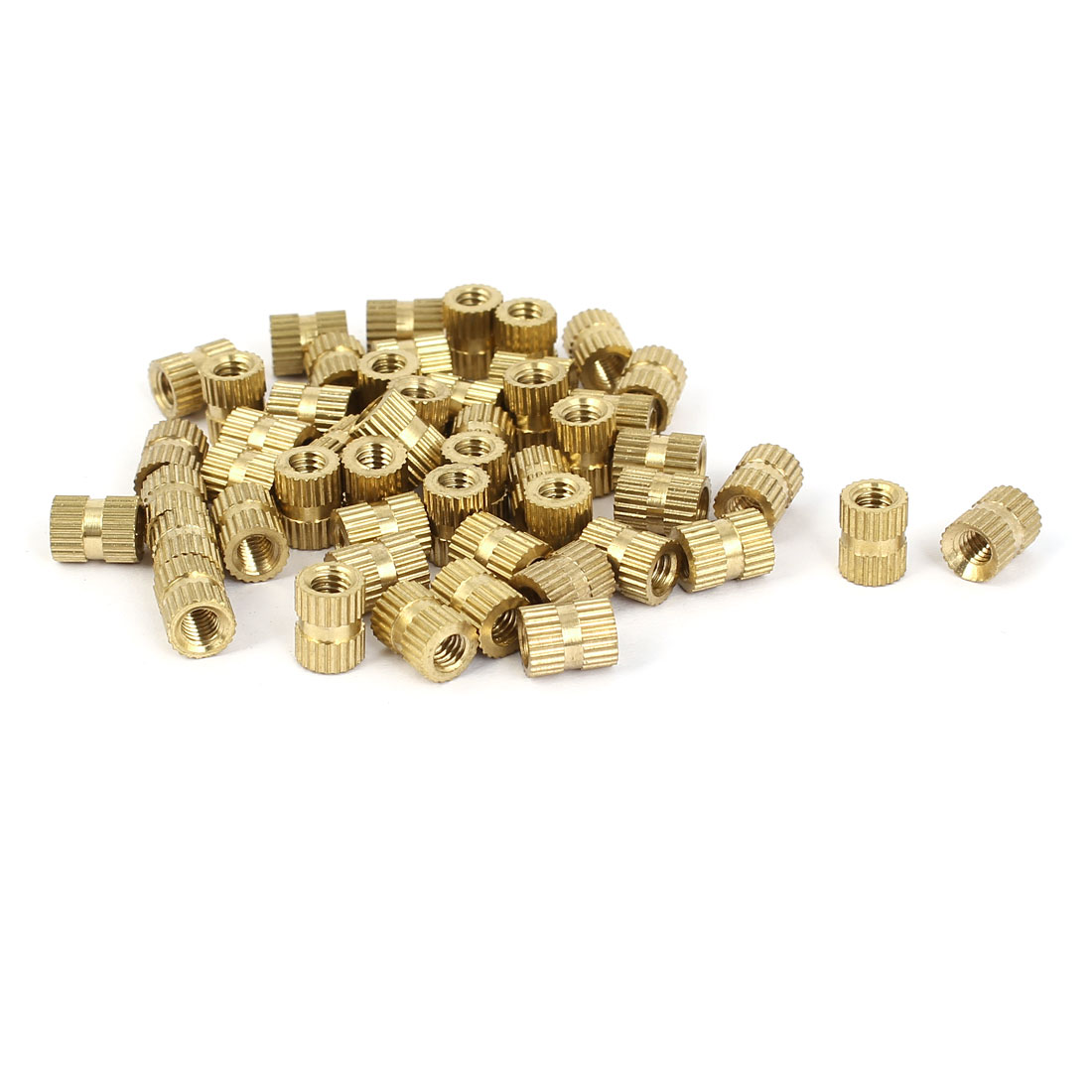 M4x8mm 6mm OD Brass Embedded Knurled Insert Thumb Nuts 50pcs