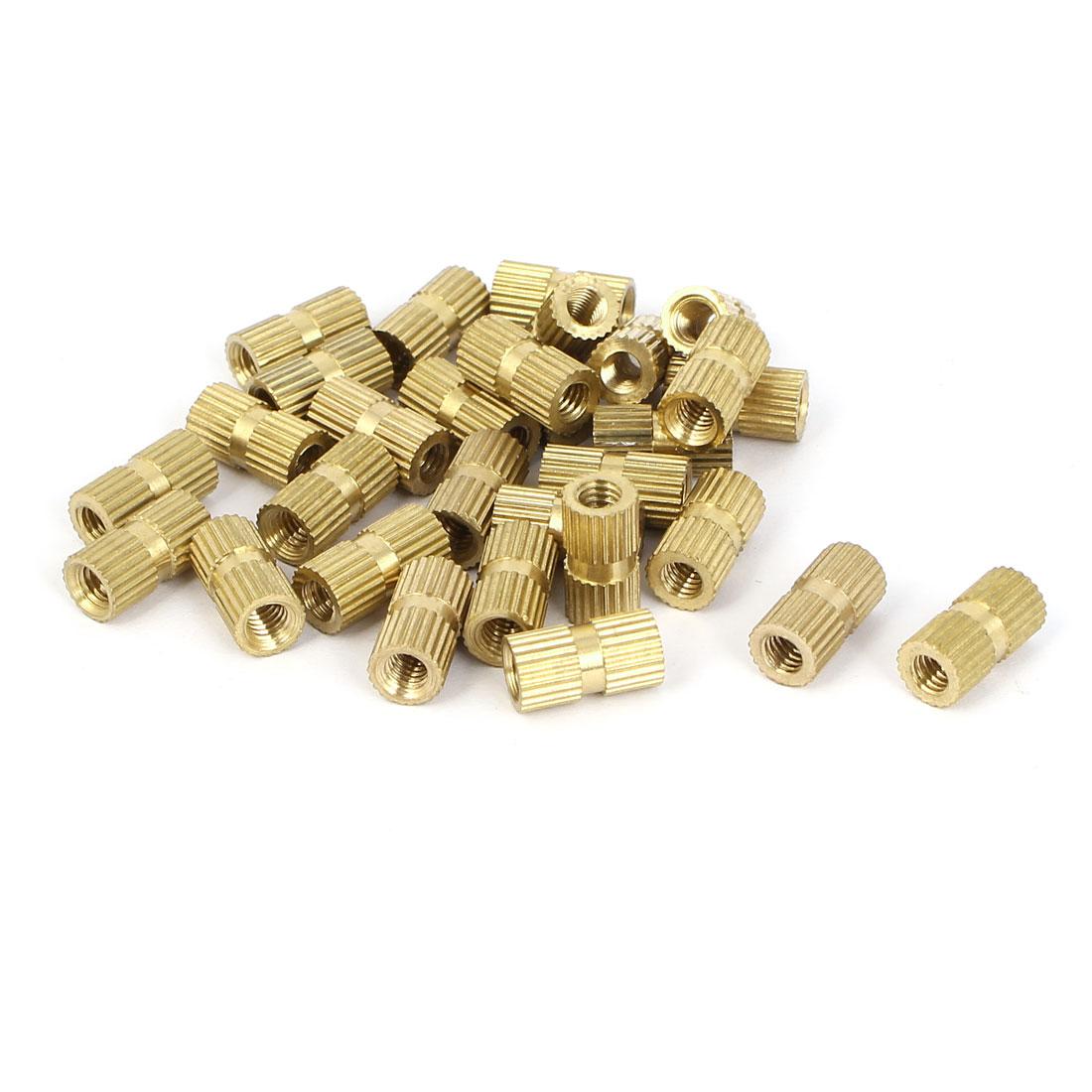 M4x12mm 6mm OD Brass Embedded Knurled Insert Thumb Nuts 30pcs