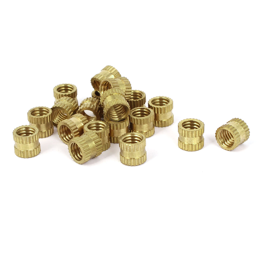M6x7mm 8mm OD Brass Embedded Knurled Insert Thumb Nuts 20pcs