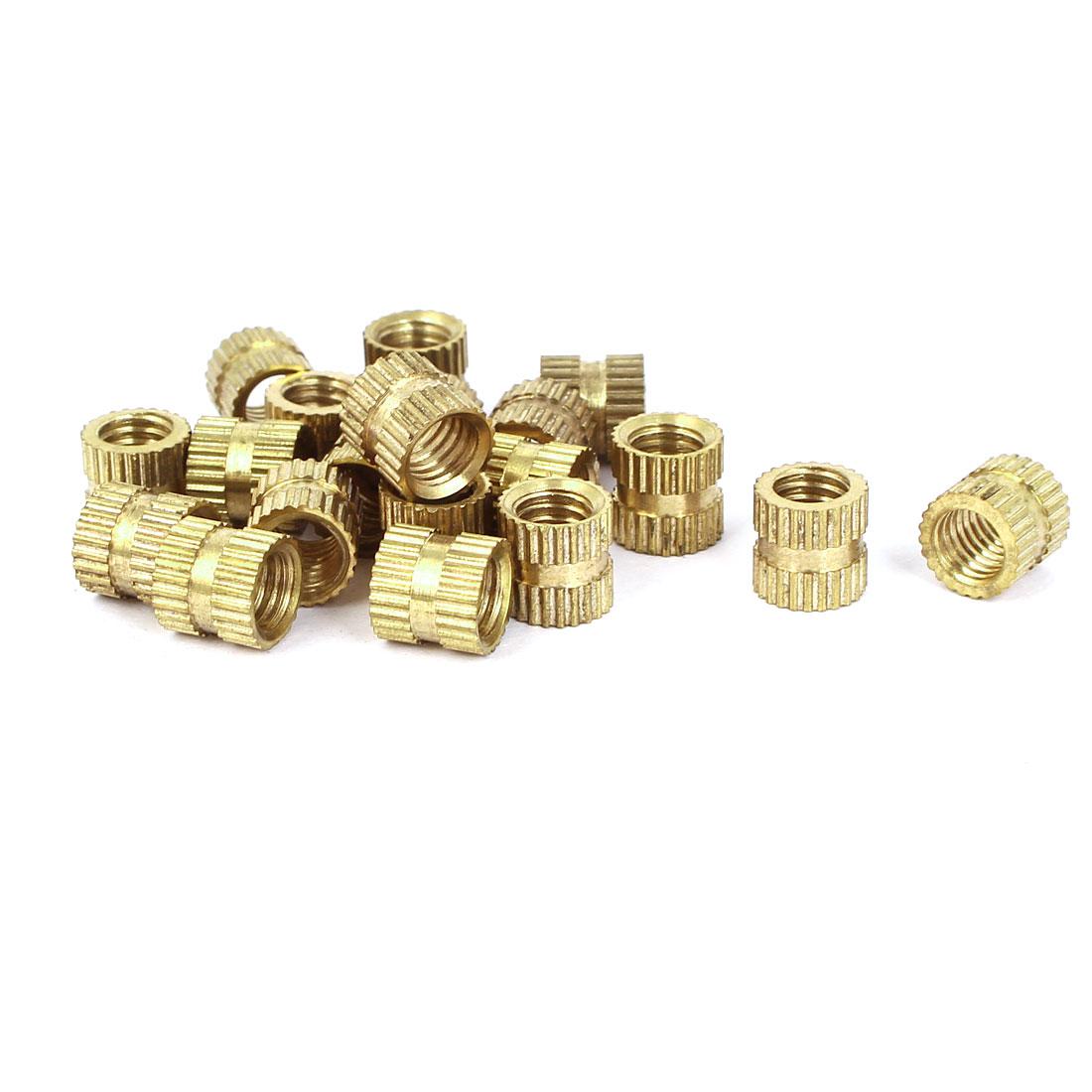 M8x6mm 10mm OD Brass Embedded Knurled Insert Thumb Nuts 20pcs