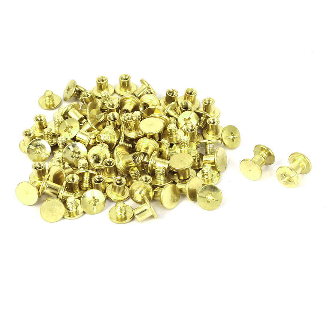 Brass Plated Chicago Screws Binding Posts Docking Rivet 5mmx6mm 50pcs
