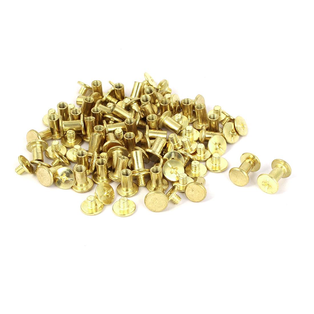 Brass Plated Chicago Screws Binding Posts Docking Rivet 5mmx8mm 50pcs