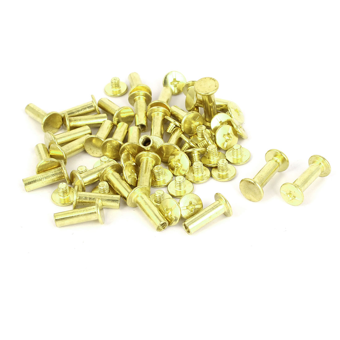 Brass Plated Chicago Screws Binding Posts Docking Rivet 5mmx15mm 30pcs