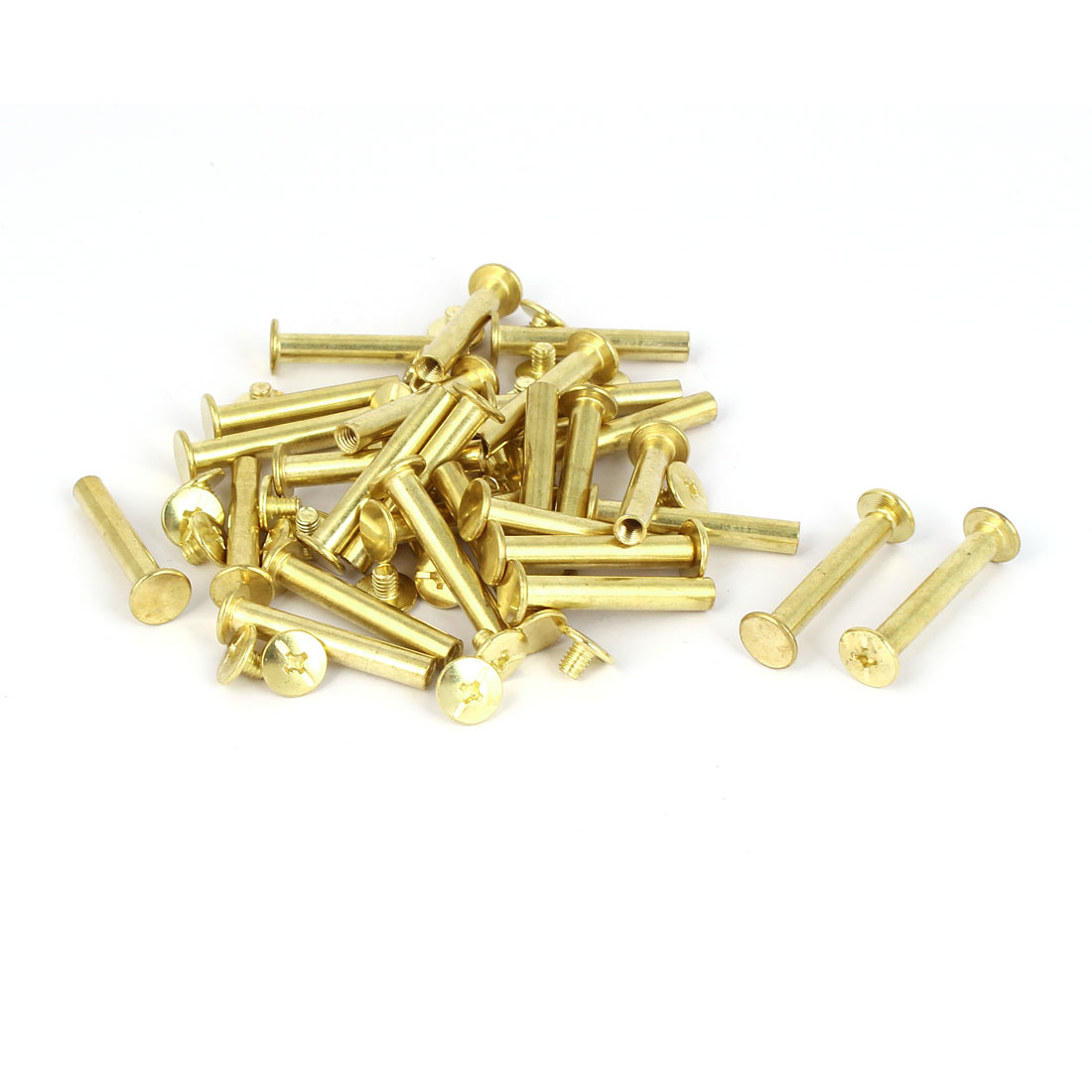 5mmx30mm Brass Plated Chicago Screws Binding Posts Docking Rivet 30pcs