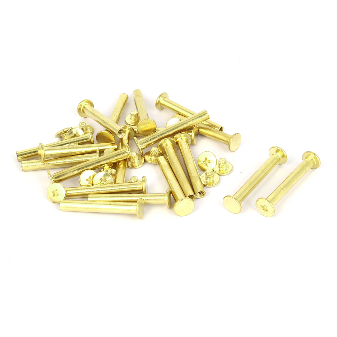5mmx35mm Brass Plated Chicago Screws Binding Posts Docking Rivet 20pcs