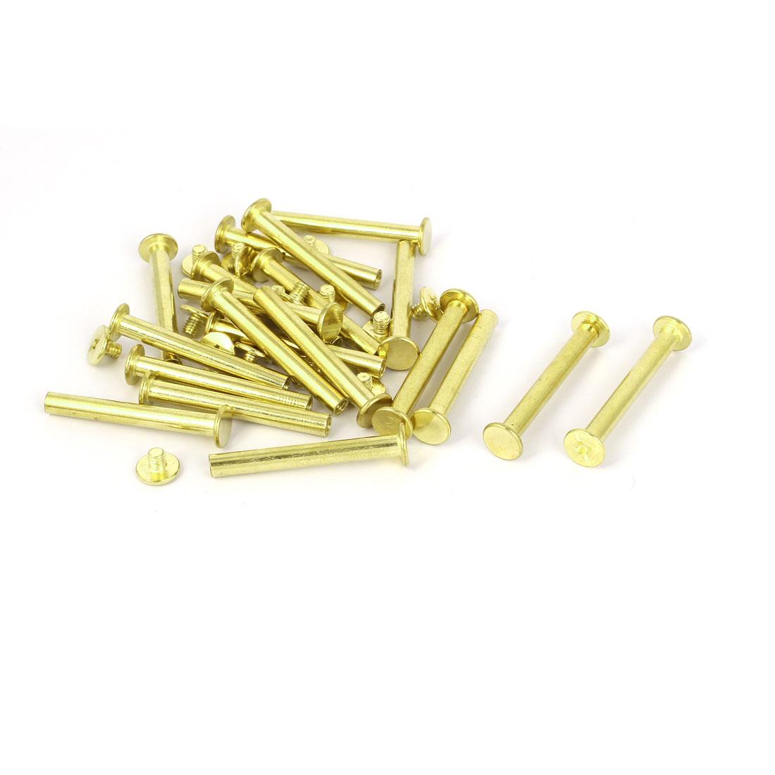 5mmx40mm Brass Plated Chicago Screws Binding Posts Docking Rivet 20pcs