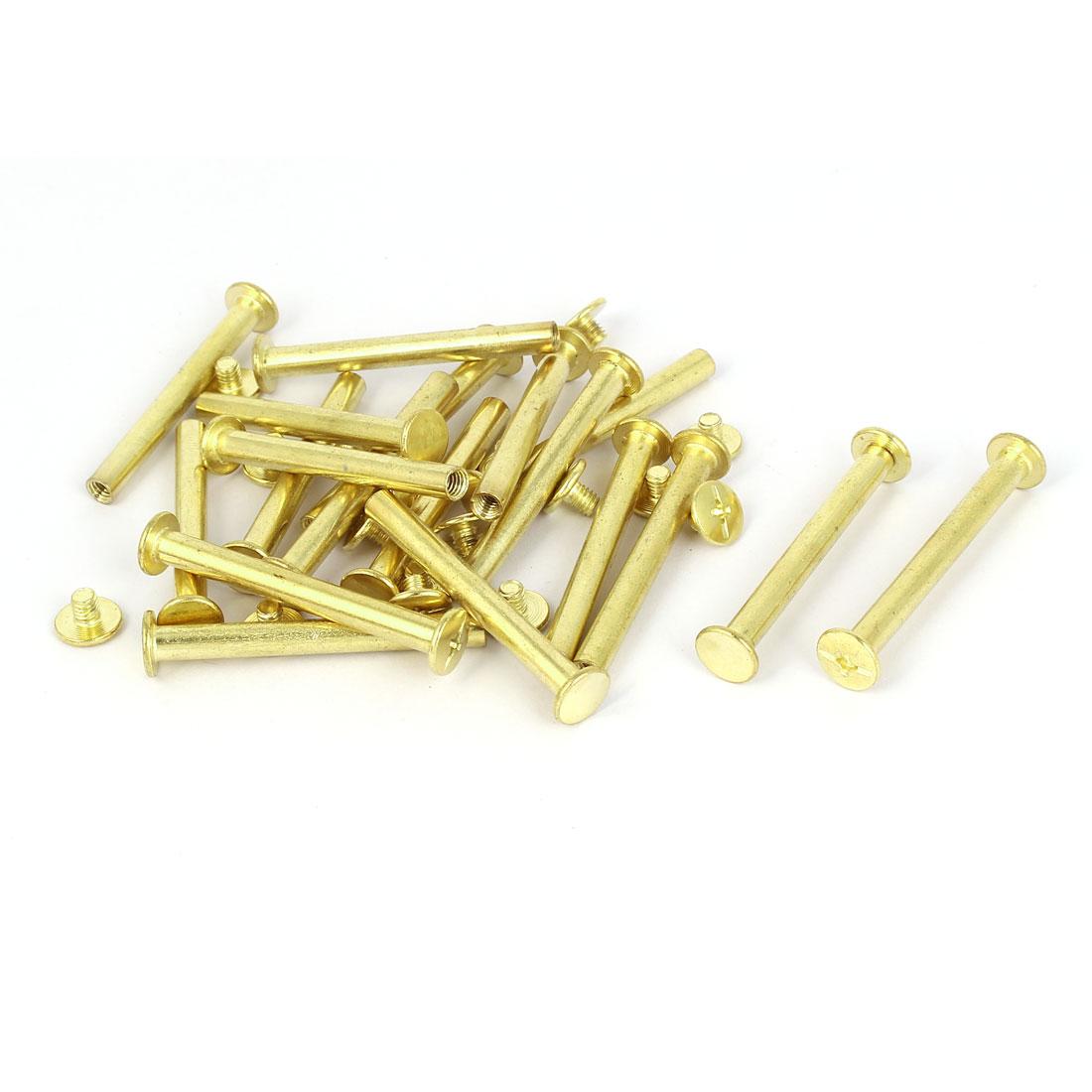 5mmx45mm Brass Plated Chicago Screws Binding Posts Docking Rivet 20pcs