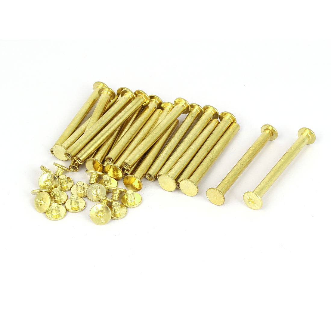 5mmx50mm Brass Plated Chicago Screws Binding Posts Docking Rivet 20pcs