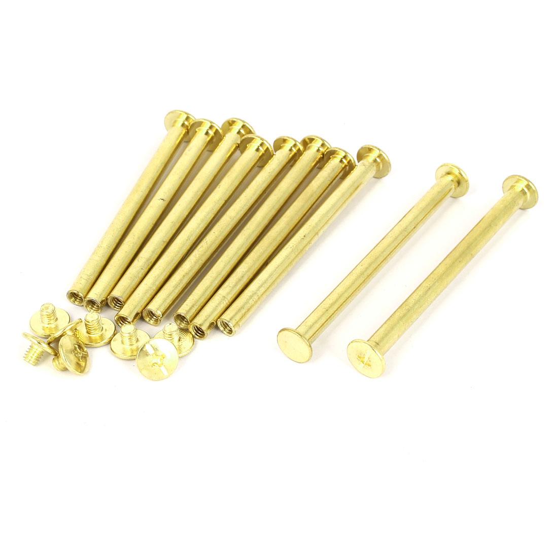 5mmx65mm Brass Plated Chicago Screws Binding Posts Docking Rivet 10pcs