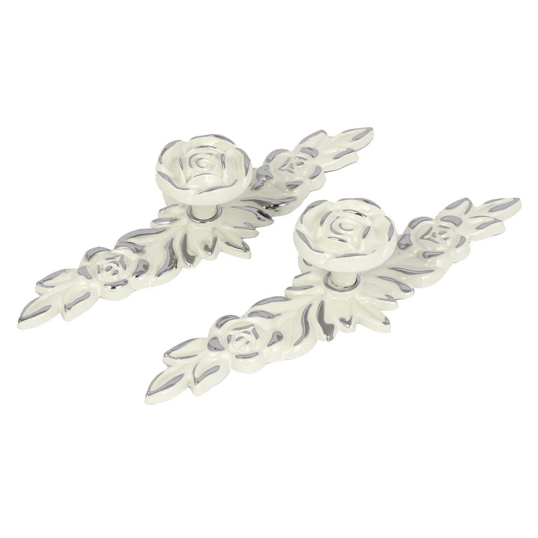 Cabinet Drawer Furniture Zinc Alloy Rose Pattern Pull Handle White 2pcs