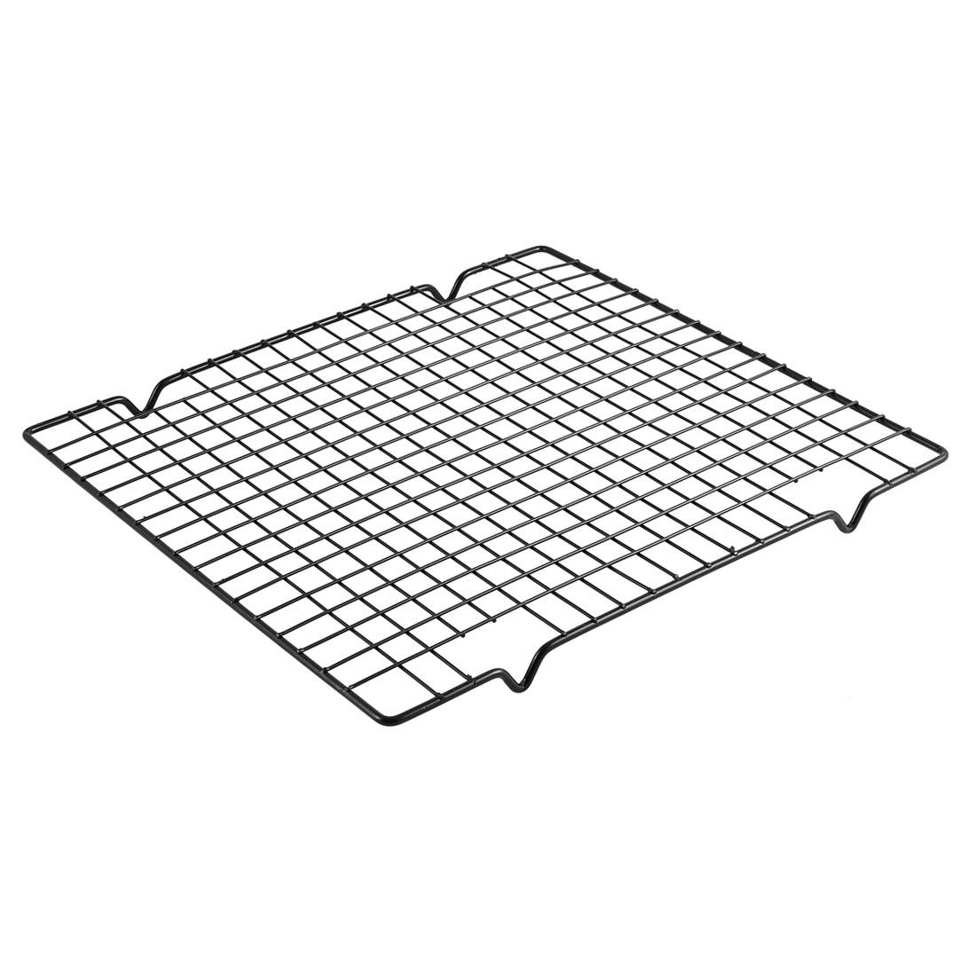 Kitchen Metal Rectangle Bread Cake Baking Cooling Rack Black 28 x 25.5 x 1.5cm