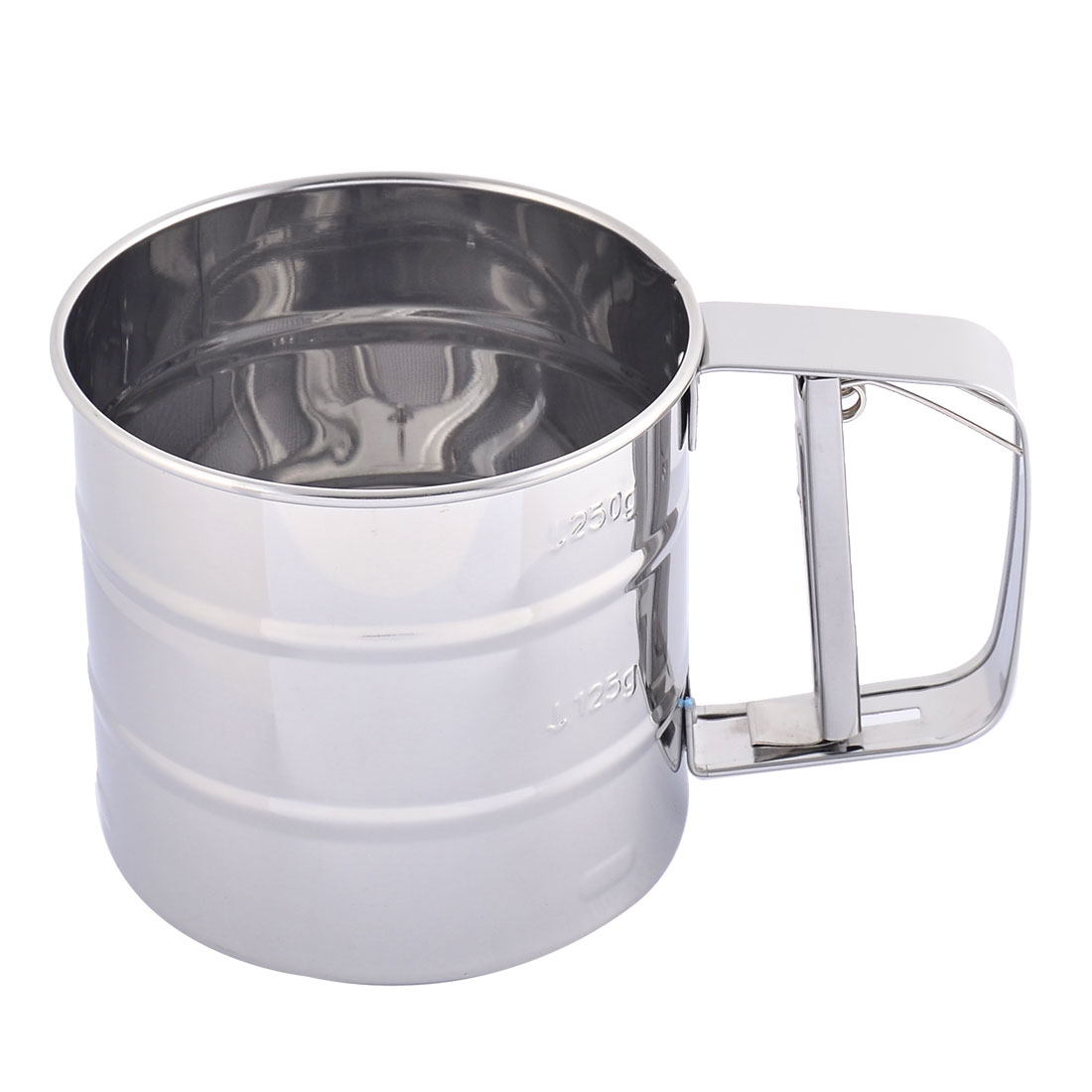 Kitchen Bakery Metal Trigger Handle Sugar Flour Sifter Mesh Shaker Strainer 250ml
