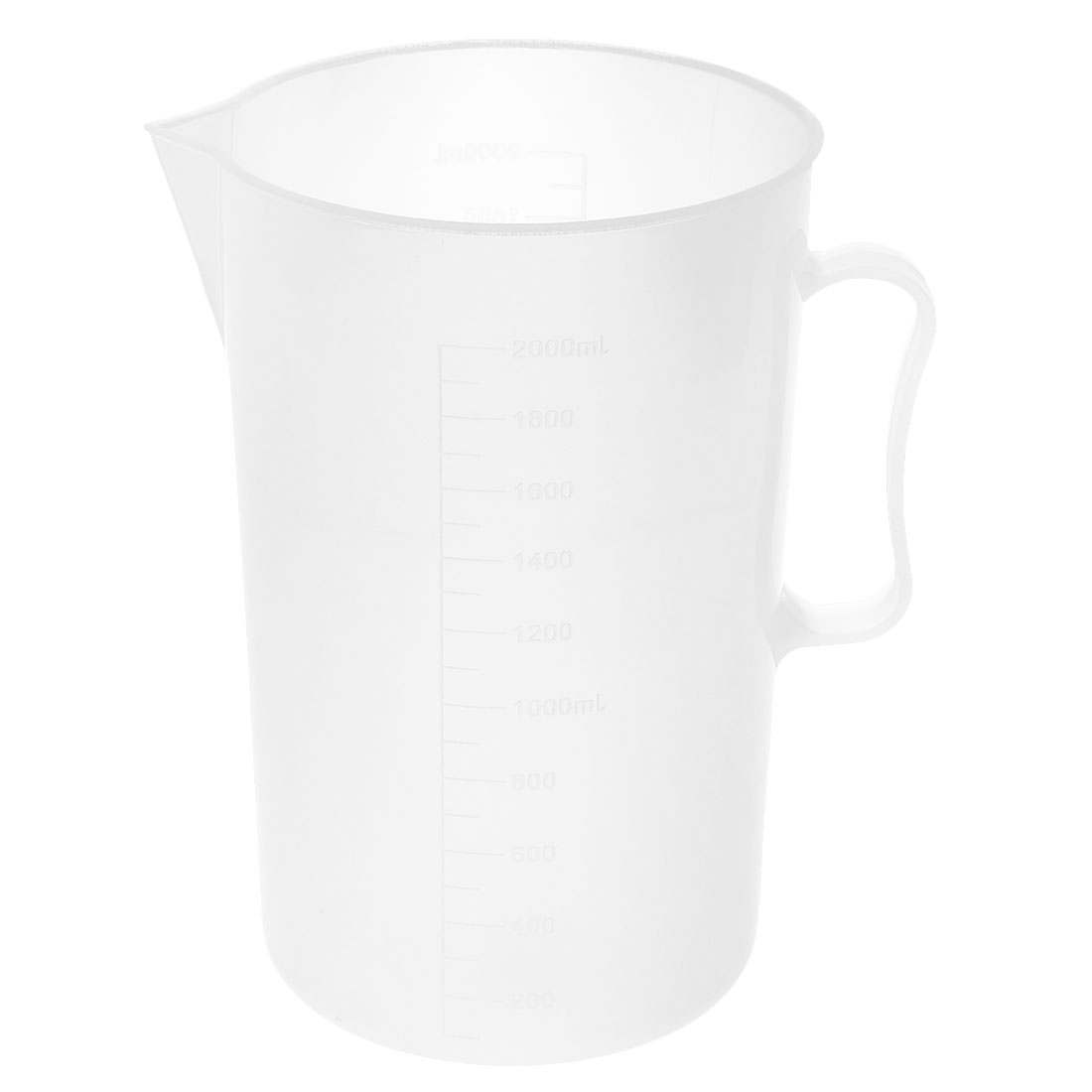 Lab Kitchen Plastic Water Liquid Graduated Measuring Cup Beaker Clear White 2000ml