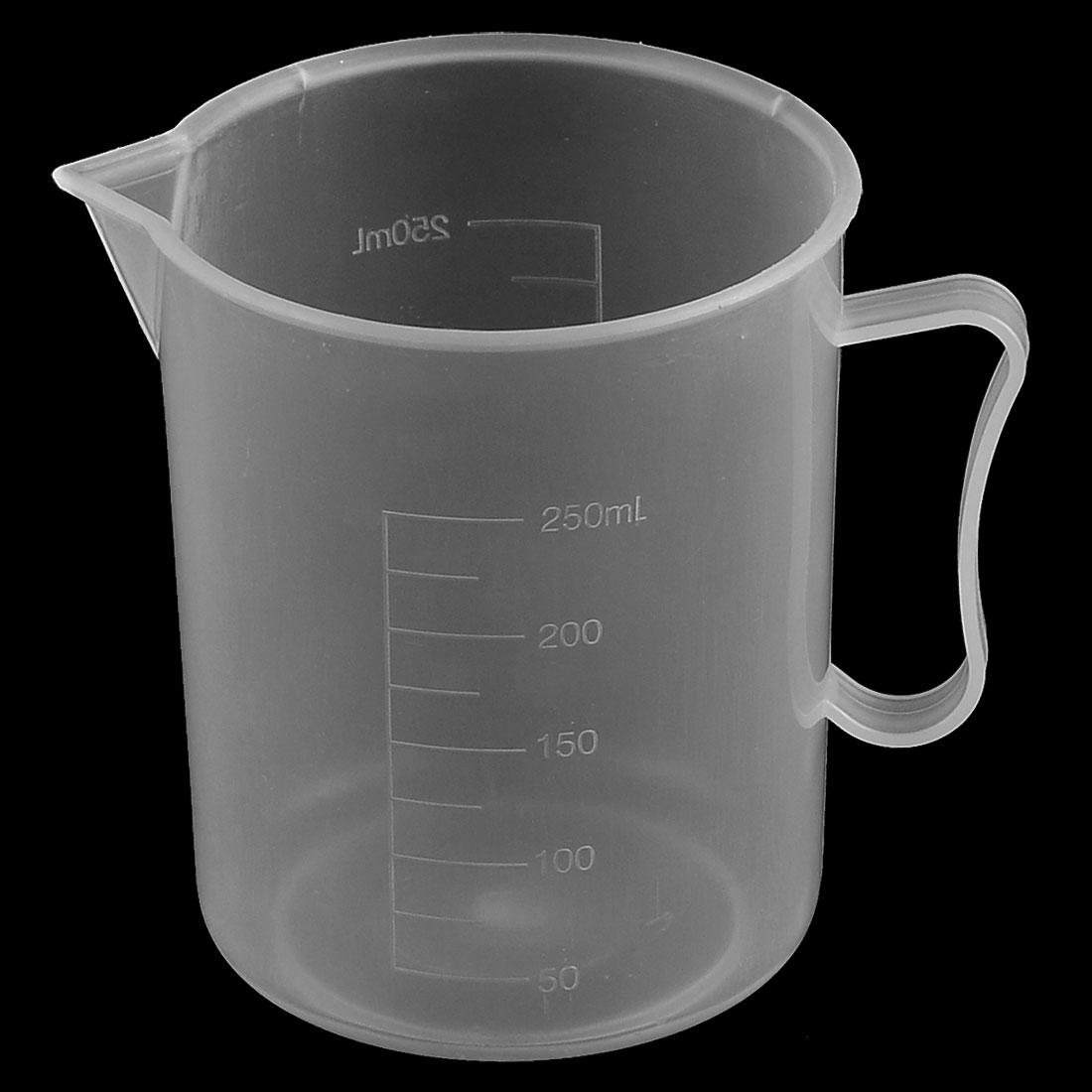 Lab Kitchen Plastic Water Liquid Graduated Measuring Cup Beaker Clear White 250ml
