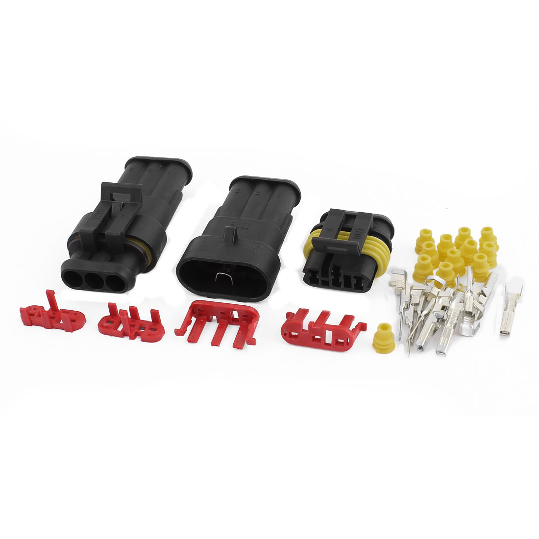 2 Sets HID 3P Way Sealed Water Resistant Electrical Wire Lead Connector Adapter for Car Auto