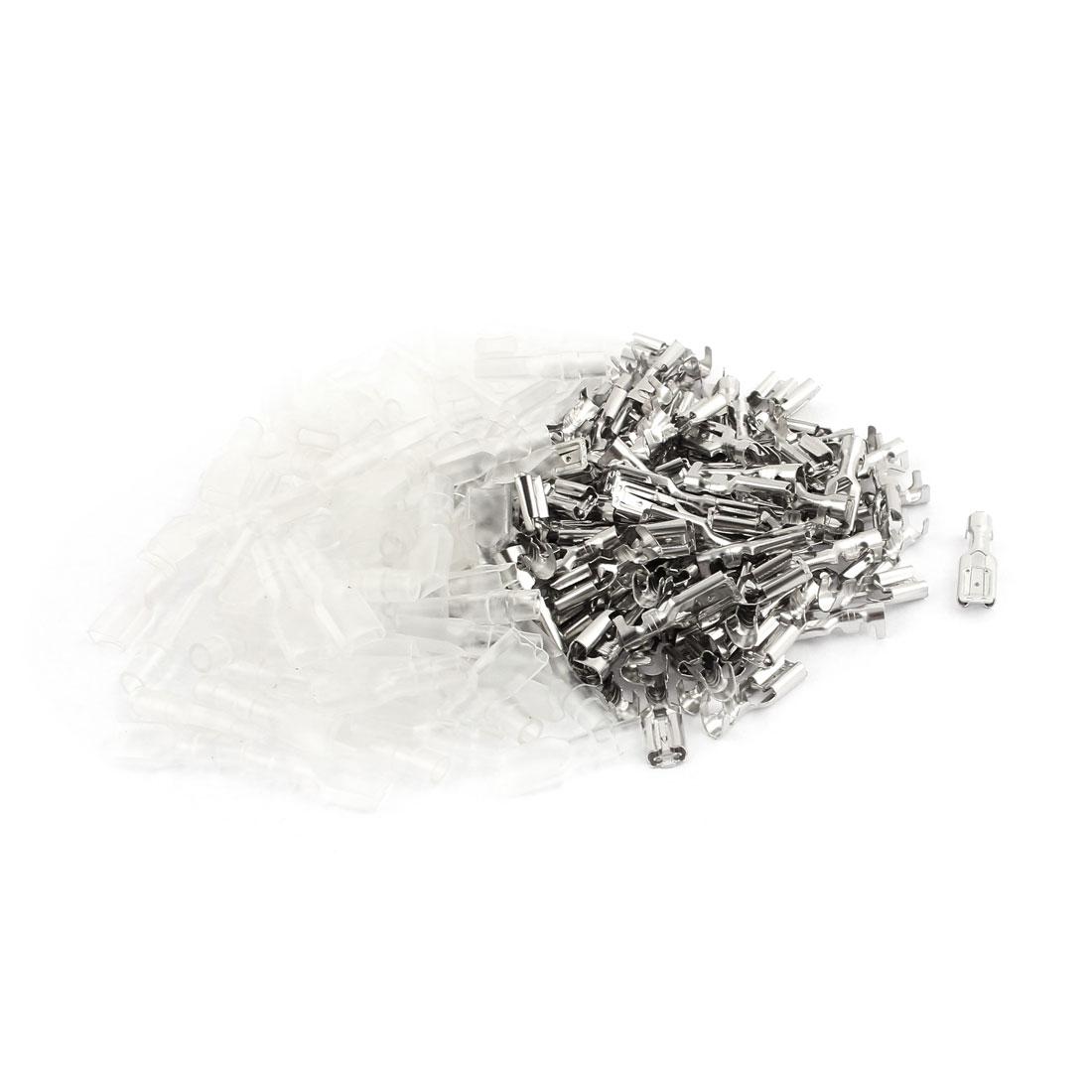 100 Sets Silver Tone 4.8mm Width Female Spade Crimp Terminal Connectors w Cover
