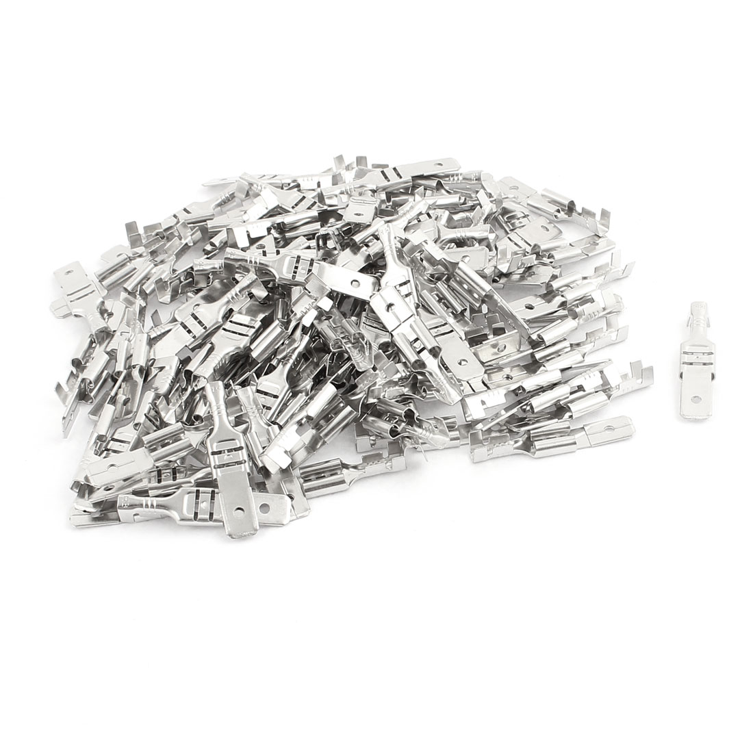100 Pcs Silver Tone 6.3mm Width Male Crimp Terminal Connectors w PVC Jacket