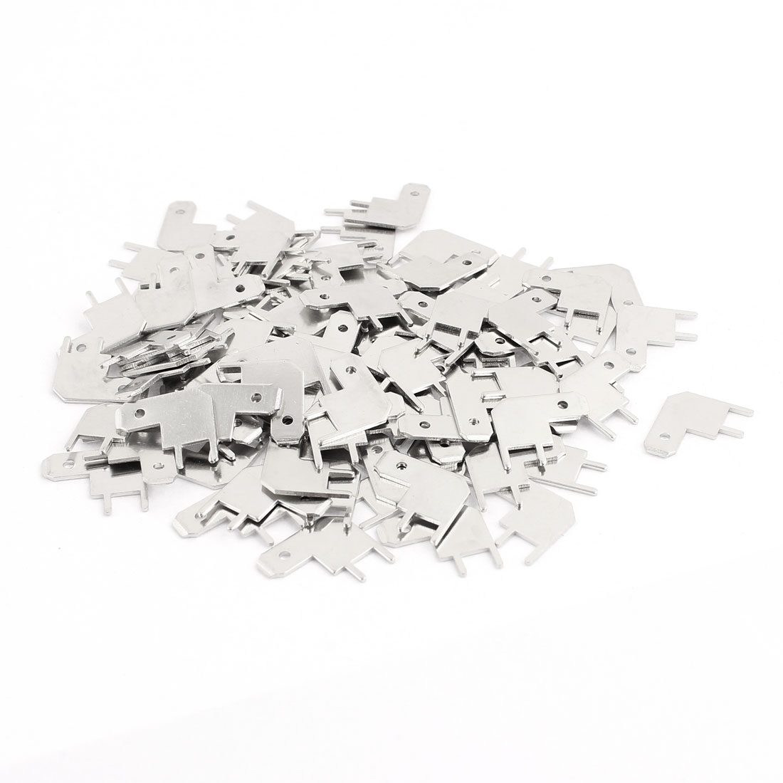 100 Pcs 4.8 L Shape Lug Plate Solder Terminal Connector Crimp Silver Tone