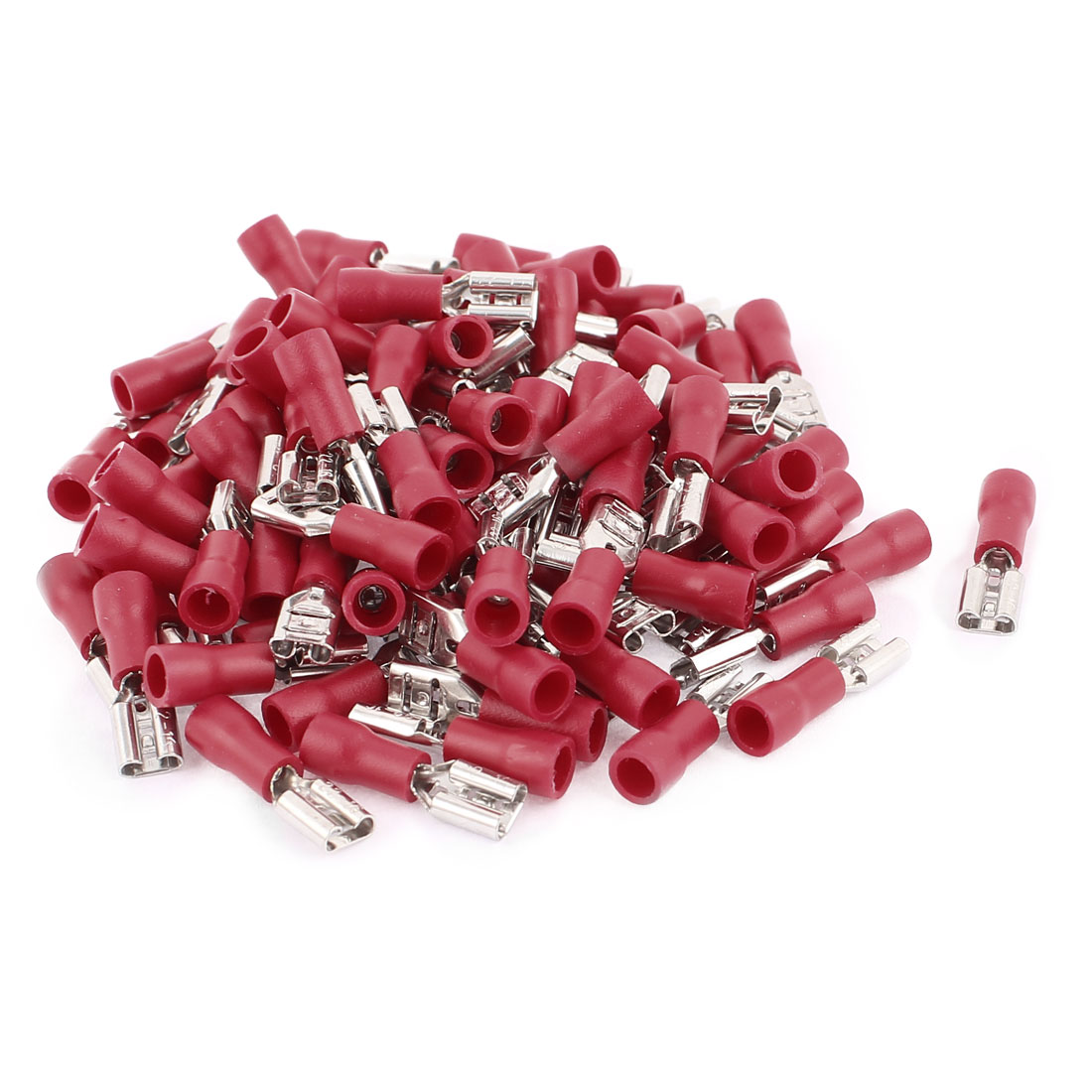 100pcs FDD1.25-187(8) 0.5-1.5mm2 Wire Electric Power Female Insulated Terminal Red